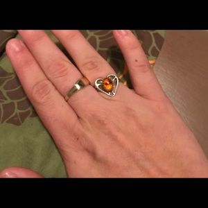 Size 7 Amber Heart Ring